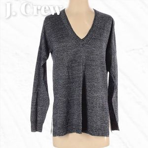 J. Crew Wool Linen Charcoal V-Neck Light Sweater